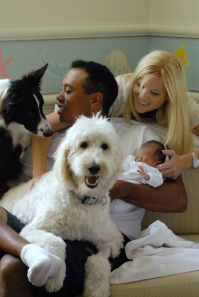 Tiger & Elin Woods Show Off Baby Girl Sam & Their Two Dogs ...