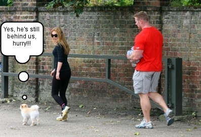 Geri Halliwelll and her trainer with Daddie, her dog