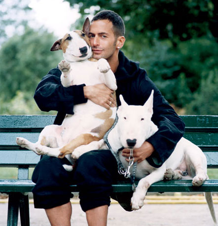 Marc Jacobs and two bull terrier dogs