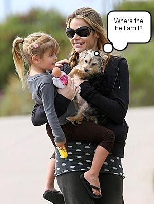 Denise Richards with Sam and a dog