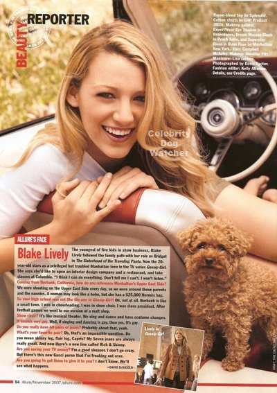 Blake Lively — Penny. Blake is the perfect woman, with the perfect husband, and the cutest puppy dog. Penny is a cross Maltese-toy Poodle and is often snapped by the paps in LA.